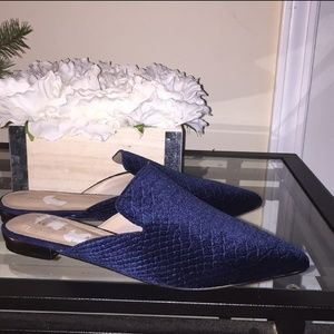 Velvet blue slip on mules loafer